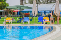 Omer, Negev, ISRAEL -June 27,Opening of the summer season in the children's swimming pool - 2015 in Israel Royalty Free Stock Photo