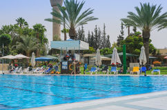 Omer, Negev, ISRAEL -June 27,Summer outdoor pool- Omer, Negev, June 27, 2015 in Israel Stock Image