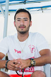Omer, Negev, ISRAEL - 27. Juni, Leibwächter im Pool - 2015 in Israel Lizenzfreie Stockfotografie