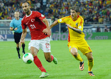 Omer Toprak and Bogdan Stancu players in Romania-Turkey World Cup Qualifier Game Royalty Free Stock Photos