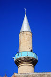Omeriye Mosque in Nicosia. The minaret of the Islamic Omeriye Mosque in Nicosia, Cyprus, which is one of only two mosque in the south of the divided city and the Royalty Free Stock Photos