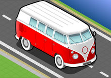 Isometric Bicolor Van in Front View Royalty Free Stock Image