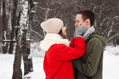 Omfamna par som ser kameran med leenden i vinter, parkera Royaltyfri Bild