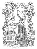 Omfamningar för flicka för vektorillustrationzentangl av kattungesom placeras en stol som omges av blommor Vektor EPS 10 Meditati Royaltyfria Foton