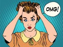 OMG женщина в ударе Стоковое Изображение