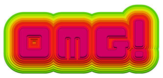 OMG!. Text created from hand made modern type in bright punchy colors Royalty Free Stock Photography