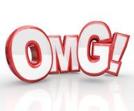OMG 3D rouge marque avec des lettres oh ma stupéfaction choquée par Dieu Photographie stock