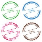 Omg badge isolated on white background. Flat style round label with text. Circular emblem vector illustration Stock Image