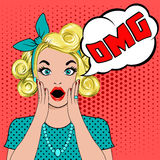 OMG bubble pop art surprised blond woman. Face with open mouth. Comic woman with speech bubble OMG.  illustration of wow face. Pop art surprised girl. Woman in Stock Photo