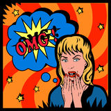 OMG girl. The picture illustrated the shocked woman in retro style Stock Photography