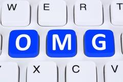 OMG oh mijn mededeling van de Godsverrassing online over Internet Stock Afbeeldingen