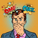 OMG ouch surprised businessman. Pop art retro vector illustration cartoon comics kitsch drawing Royalty Free Stock Image