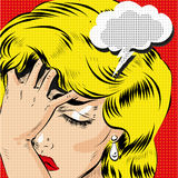 OMG pop art comic blonde woman stressed vector art Royalty Free Stock Images