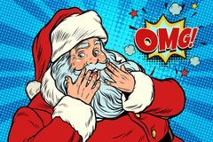 OMG surprise Santa Claus reaction. New year and Christmas. Pop art retro vector illustration Royalty Free Stock Photography
