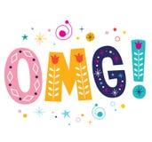 OMG! uttryck - oj min dekorativa bokstävertext för gud Royaltyfri Fotografi