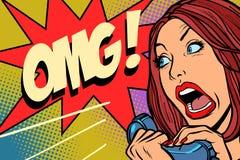 OMG-Vrouwenschreeuwen in telefoon stock illustratie