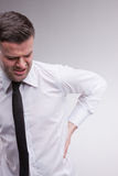 Omg what a backache says the man Stock Image