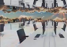 omgekeerd bureau in de wolken stock illustratie