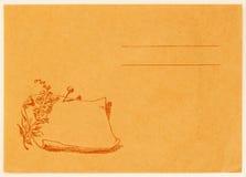 Omgekeerde van uitstekende prentbriefkaar De spatie van Grunge achtereind Gerimpelde (document) textuur Met plaats uw tekst, acht Stock Fotografie