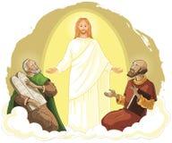 Omgestaltning av Jesus Christ med Elijah och Moses royaltyfri illustrationer