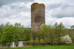 Omgiven med vallgrav slott, Wasserburg Baldenau, Tyskland Royaltyfri Foto