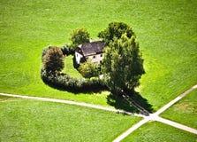 omgivna trees för landshus Arkivbilder