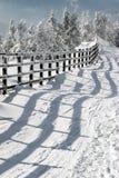 Omheining en schaduw in de winter Royalty-vrije Stock Fotografie