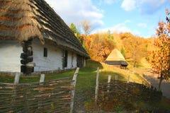 Omheining in het dorp van de Herfst royalty-vrije stock afbeeldingen