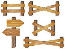 Omheining, houten uithangborden, pijlteken Stock Foto's