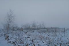 Omheining in nevelige sneeuw Royalty-vrije Stock Foto