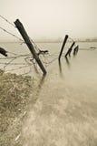 Omheining in water Stock Foto's