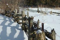 Omheiningen op het gebied tijdens de winter Stock Afbeeldingen