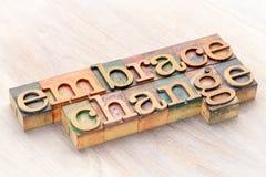 Omhels de samenvatting van het veranderingswoord in houten type royalty-vrije stock afbeeldingen