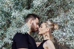 Omhelzingen en kus houdend van paar in de takken van de struiken Gang langs de weg, een man die een vrouw kussen De verhouding va stock foto's