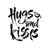 Omhelzingen en kussen Hand het getrokken creatieve kalligrafie en borstel van letters voorzien geïsoleerd op witte achtergrond On vector illustratie