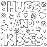 Omhelzingen en kussen Kleurende pagina Vector illustratie stock illustratie