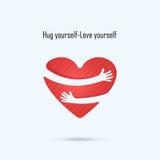 Omhelzings zelf embleem Liefde zelf embleem Liefde en het embleem van de Hartzorg Royalty-vrije Stock Afbeeldingen