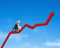 Omhoog beweegt 3d geldsymbool op rode pijl Royalty-vrije Stock Foto's