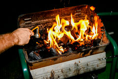 Omhoog in brand gestoken de grill Royalty-vrije Stock Foto