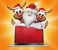Omhoog 3d Santa Claus Reindeers Electronics Christmas Thumbs Stock Foto's