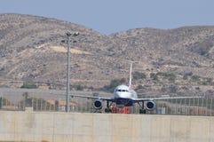 Omhoog geparkeerd vliegtuig stock fotografie