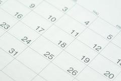 Omhoog gesloten van de schone witte kalender van het datumaantal als jaar planning, Royalty-vrije Stock Afbeelding