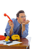 Omhoog gevoed met telefoongesprekken Stock Fotografie