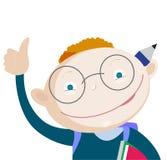 Omhoog glimlachend de rode duim van de de jongensholding van de haarschool Stock Fotografie