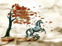 Omhoog het grootbrengen van paard met inkt of waterverfvlekkenvlekken en de herfstboom met dalingsbladeren stock foto's