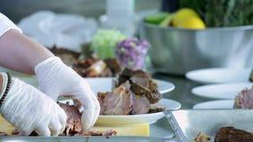 Omhoog het snijden van wat vlees stock video