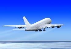 Omhoog het vliegen van vliegtuig Stock Foto