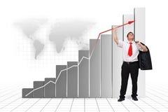 Omhoog hoge de grafiekpijl van de bedrijfsmensenholding Royalty-vrije Stock Foto's