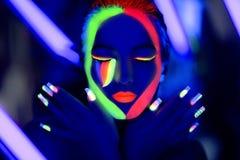 Omhoog maakt de neon uvkunst Royalty-vrije Stock Afbeeldingen