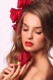 Omhoog maakt de schoonheids modelvrouw met mooi Stock Fotografie